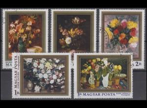 Ungarn: Gemälde Blumensträuße 1977, 5 Marken, Satz gestempelt