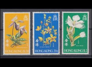 Hongkong 341-343 Blumen / Orchideen, Satz ** postfrisch / MNH