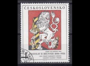 Tschechoslowakei: Tschechischer Löwe - Gemälde von Brunner 1986, 1 Marke O