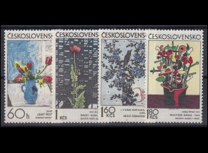 Tschechoslowakei: Pflanzen Blumen Illustrationen Gemälde 1974, 4 Werte **