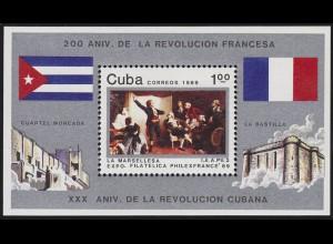 Karibik: 200 Jahre französische Revolution 1989, 1 Block postfrisch **
