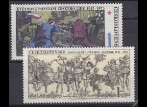 Tschechoslowakei: Befreiung von Faschismus und Sowjetischer Armee, 2 Werte **
