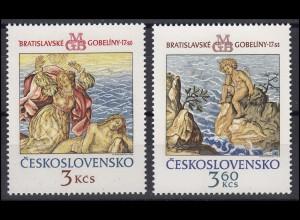 Tschechoslowakei: Wandteppiche aus Bratislava 1976, 2 Werte postfrisch **