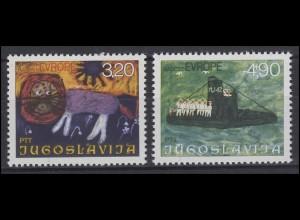 Jugoslawien: Europa - Kinderzeichnungen Paintings Löwe & U-Boot, 2 Werte **
