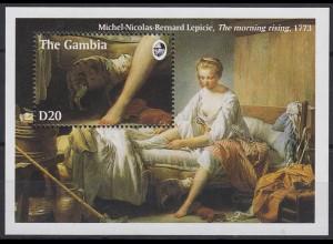 Gambia: Michel-Nicolas-Bernard Lepicie Gemälde, 1 Block postfrisch **