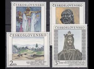 Tschechoslowakei: Gemälde & Skulpturen in und um Prag 1990, 4 Werte, Satz **