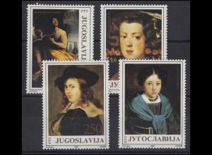 Jugoslawien: D. Cudov Gemälde Porträt 1987, 4 Werte postfrisch **