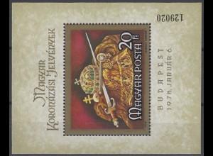 Ungarn: Insignien der Könige von Ungarn 1978, Block ** postfrisch