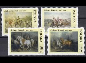 Polen: Gemälde von Juliusz Kossak: Mensch & Pferd, 4 Werte, Satz **