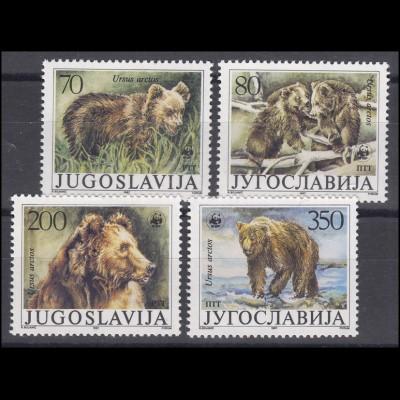 Jugoslawien WWF: Der Braunbär Ursus arctos, 4 Werte, Satz **
