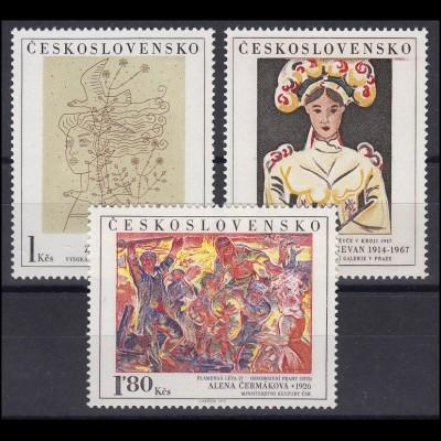 Tschechoslowakei: Nevan, Cermakova, Sklenar Gemälde 1975, 3 Werte postfrisch **