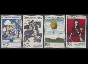 Tschechoslowakei: tschechische Maler Gemälde 1973, 4 Werte postfrisch **