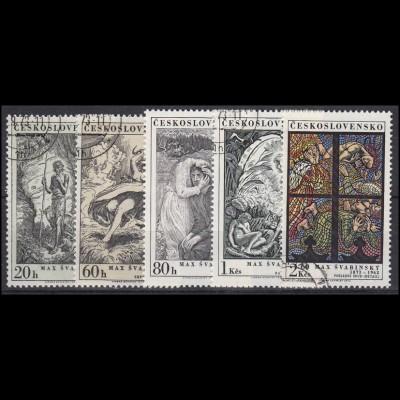 Tschechoslowakei: Max Svabinsky Gemälde Illustration 1973, 5 Werte gestempelt O