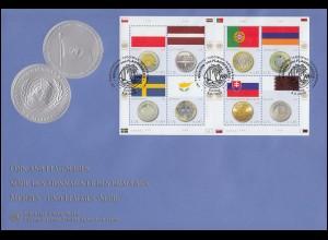 UNO Genf 640-643 Insekten und Spinnen, Kleinbogen auf Schmuck-FDC GENF 2009