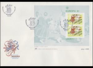 Portugal Madeira EUROPA / CEPT 1981: Folklore Musik & Tanzen, Block auf FDC