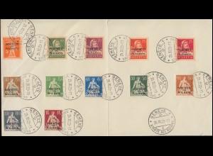 Völkerbund (SDN) 1+12x Rappen-Ausgabe und 1 Franc GENF 25.12.22 auf Vorlage