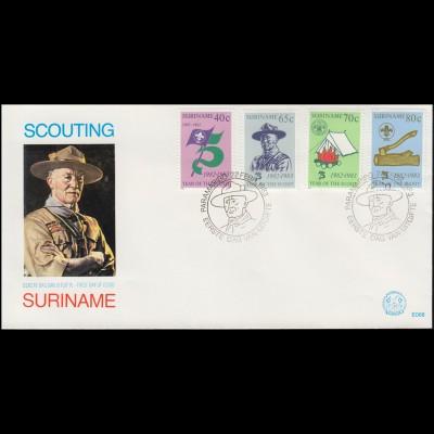 Surinam Pfadfinder 1983 Robert Baden-Powell Zelte Lagerfeuer - auf Schmuck-FDC