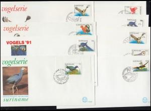 Surinam Vogel-Serie: Vögel 1986 und aus 1993-1999 auf 18 Schmuck-FDC