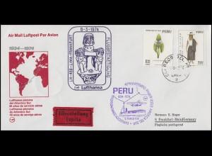 Flugpost Lufthansa 40 Jahre Peru-Deutschland LH 489 LIMA 6.3.1974 nach Frankfurt