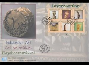 UNO Trio-FDC Menschenrechte, 6 Marken mit Zierfeld auf Schmuck-FDC 1990
