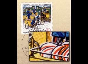 1337 Tag der Briefmarke 1987 mit PLF gebrochener Postsack / Feld 20, amtl. ETB