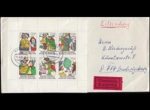 2281-2286 Märchen-Kleinbogen unten nicht durchgezähnt auf Eil-Bf. GOTHA 17.1.78