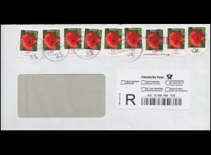 2477 Klatschmohn 55 Cent selbstklebend 9mal, R-Rückschein-Brief BZ 46 - 11.2.08