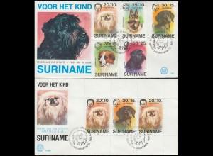 Surinam Wofa Für das Kind - Hunderassen 1976: Satz und Block auf 2 Schmuck-FDC's