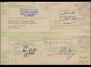 Paketkarte ST. AUGUSTIN (SIEG) 10.6.81 über Hamburg nach ENDE 12.12.81