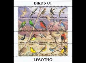 Lesotho 945-965 Einheimische Vögel BIRDS OF LESOTHO ZD-Kleinbogen 1992 **