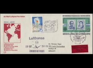 Flugpost Lufthansa 40 Jahre Uruguay-Deutschland Politiker-Block Flugboot 26.1.74