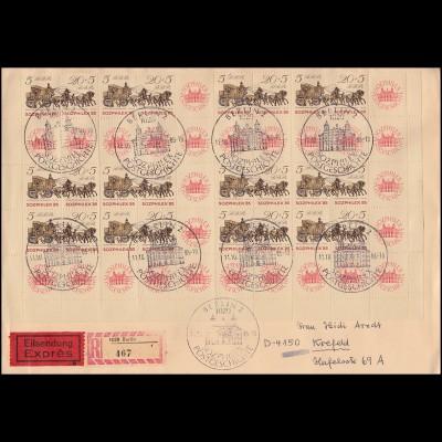 Halber MHB 18 SOZPHILEX (unten) auf Eil-R-Brief passender SSt BERLIN 11.10.85