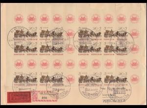 Halber MHB 18 SOZPHILEX (oben) auf Eil-R-Brief passender SSt BERLIN 11.10.85