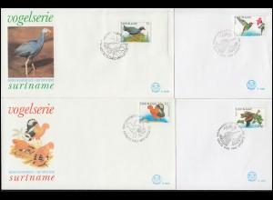Surinam Vogel-Serie: Vögel 1986 und aus 1995-1999 auf 9 Schmuck-FDC's