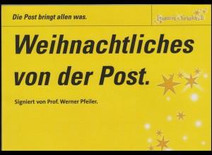 Österreich: Weihnachten 2004 auf FDC signiert Prof. Werner Pfeifer, im Folder