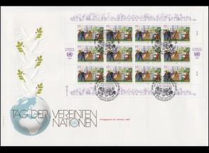 UNO Wien 75-76 Tag der UNO, Kleinbogen-Satz auf 2 Schmuck-FDC WIEN 1987