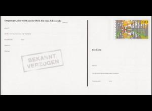 Eine PSo 54 Umzugspostkarte ** postfrisch, mit Set-Quittung vom Ersttag 24.8.98