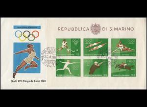 San Marino Block 7 Olympia Rom 1960 auf Schmuck-FDC 27.8.1960