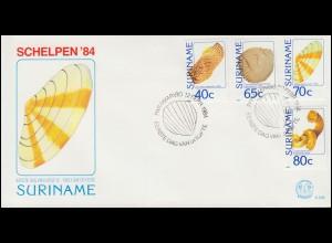 Surinam Muscheln 1984 - Satz (vier Briefmarken) auf Schmuck-FDC
