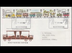 Großbritannien 830-834 Eisenbahn Fünfer-Streifen Brief SSt MANCHESTER 11.8.80