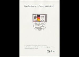 1421 EB 1/1989 Poststruktur-Gesetz - Typ I MIT Grußwort, seltene Karte