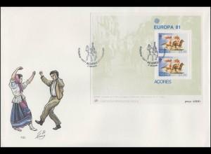 Portugal Azoren EUROPA / CEPT 1981 Folklore/ Reiterspiele / Tanzen, Block - FDC