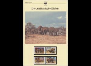 WWF Elefanten 1991 Uganda 960-963 Satz **, auf FDC und als Maximumkarten