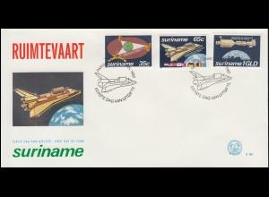 Surinam Bemannte Raumfahrt 1982 Space Shuttle Apollo-Sojus-Projekt Schmuck-FDC
