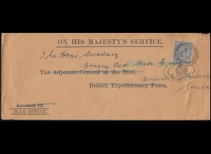1. Weltkrieg WAR OFFICE - ON HIS MAJESTY'S SERVICE Brief London nach Genua