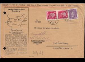 390 Friedrich der Große + 395 Leibnitz auf Zustellungsurkunde BENSBERG 20.7.1929