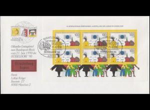 Block 21 Jugendausstellung als EF auf Schmuck-Eil-FDC ESSt DÜSSELDORF 21.6.1990