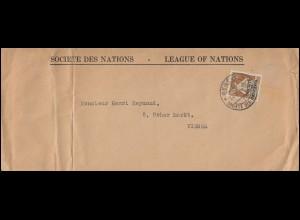 Völkerbund (SDN) 6x Sitzende Helvetia als EF auf Brief GENF 24.10.1924 nach Wien