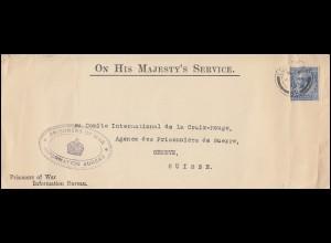 Kriegsgefangenepost ON HIS MAJESTY'S SERVICE Brief Lodon an das Rote Kreuz Genf