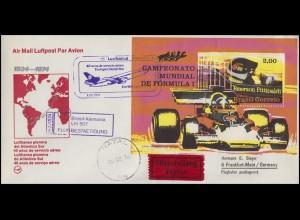 Flugpost Lufthansa 40 Jahre Brasilien-Deutschland LH 507 Formel-1-Block 7.2.1974